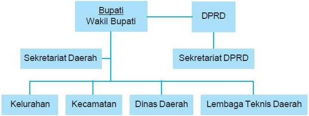 Struktur Organisasi Pemerintahan Kabupaten Buku Pr Tugas Dan Catatan Sekolah