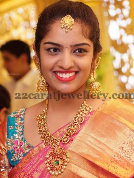 Pretty Lady Ruby Set Jhumkas