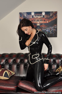 Coral May Hall sexy in Skin Tight Latex Leggings and Jacket