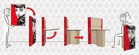 Silla-Cuadro 100% Reciclable, Muebles Funcionales y Ecoresponsables