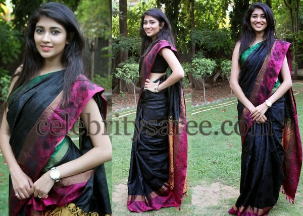 Akhila Kishore Black Floral Saree