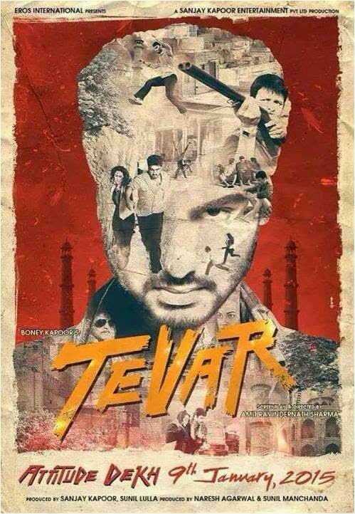 Arjun Kapoor in face poster of Bollywood movie Tevar
