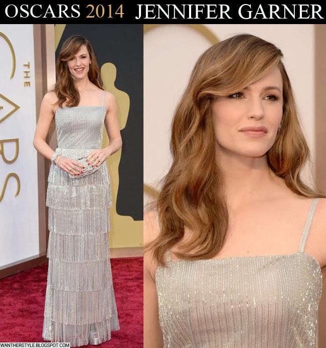 Jennifer Garner in silver tassel gown by Oscar de la Renta Oscar 2014 red carpet Want Her Style