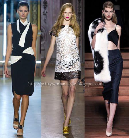 модерни рокли в черно и бяло пролет-лято 2013