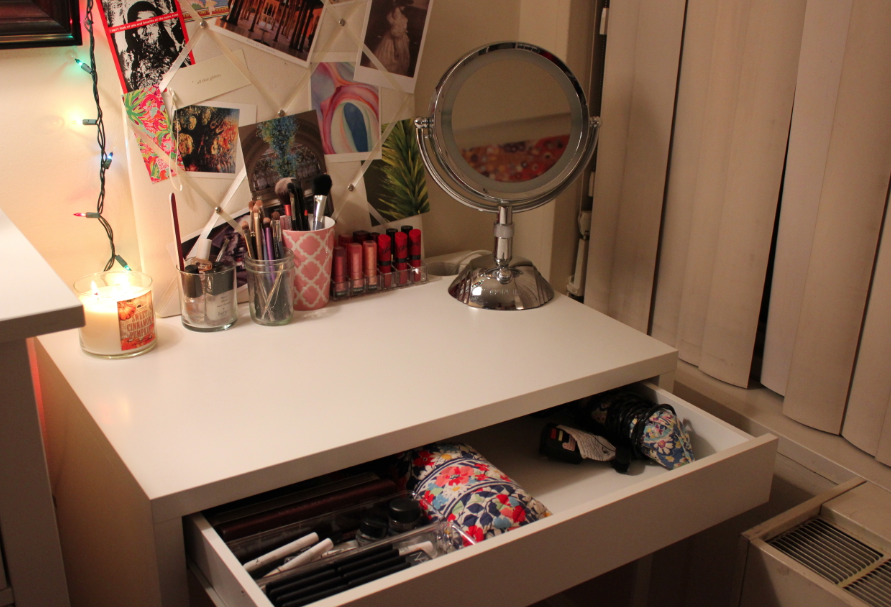 IKEA Micke Desk Vanity Makeup Storage
