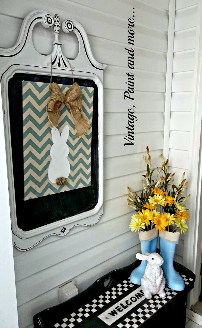 Spring Entryway - chevron bunny sign, black and white check bench, blue rainboots