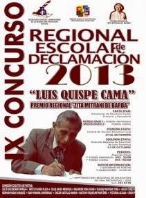"""Fotos IX Concurso Escolar Regional de Declamación """"Luis Quispe Cama"""""""