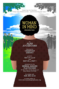 "PRINT OF POSTER: ""woman in mind"" at the Sierra Madre Playhouse"