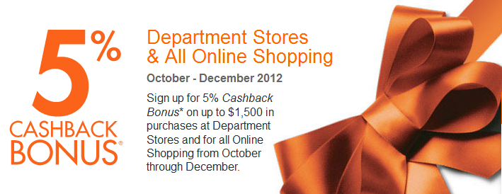 Discover card promo: 5% cash back online/department store purchases