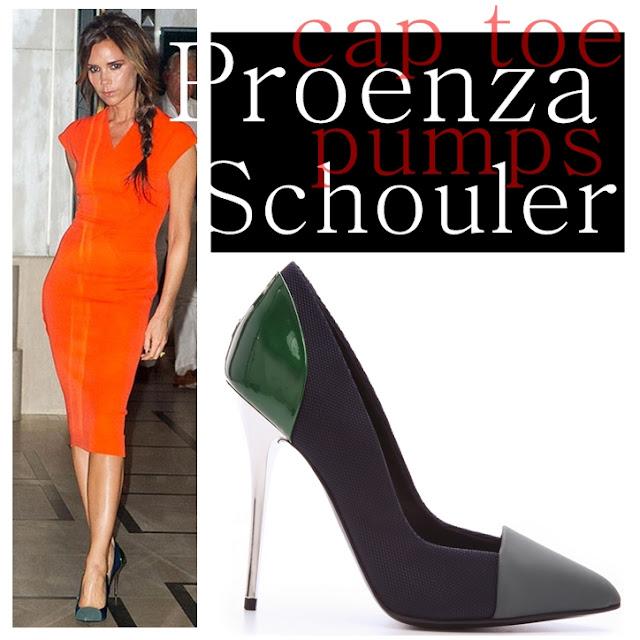 Victoria Beckham wearing Proenza Schouler cap-toe pumps