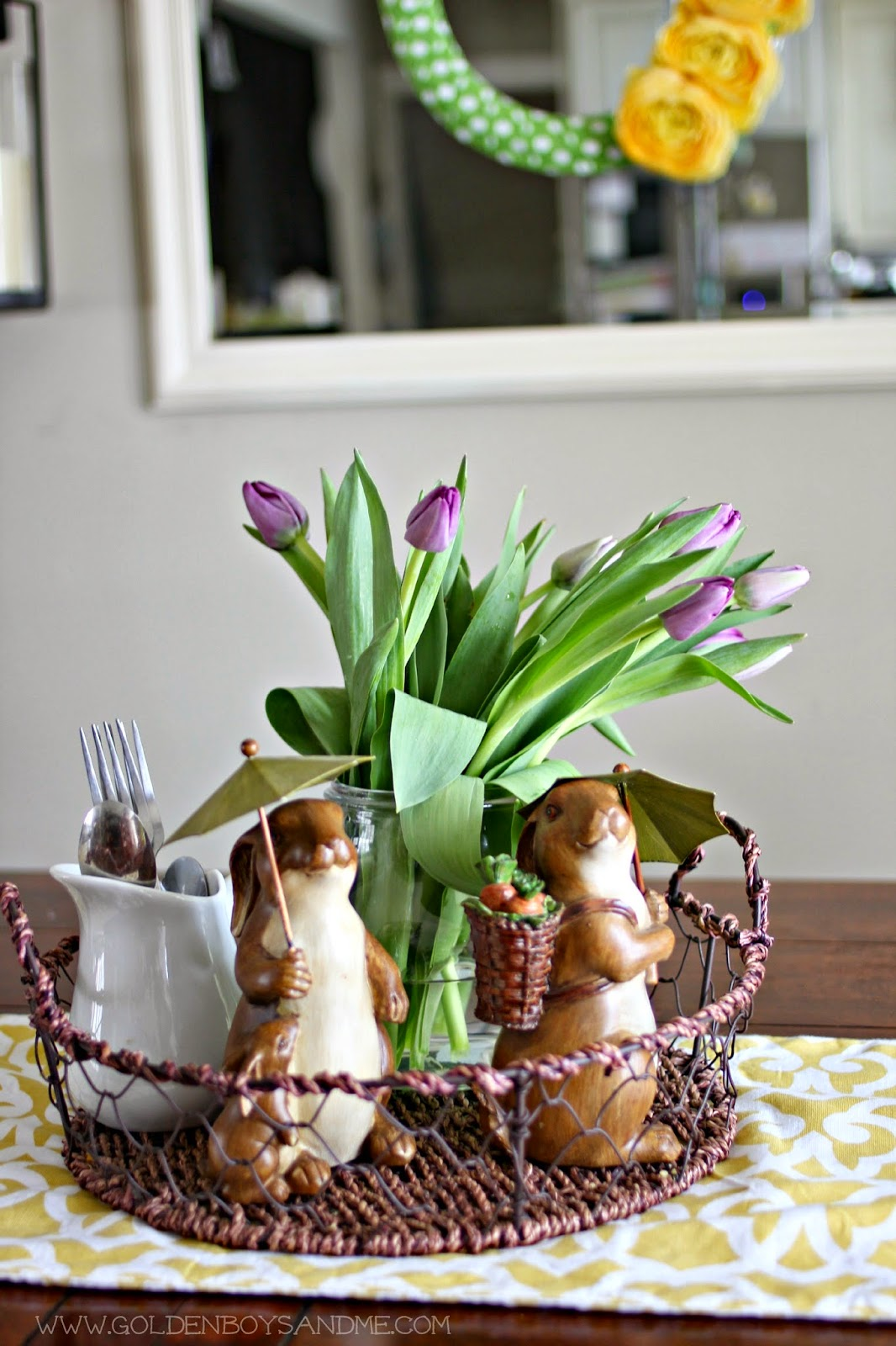spring tablescape with ceramic bunnies-www.goldenboysandme.com