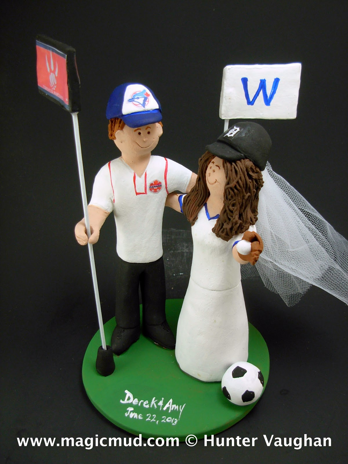 Blue Jay Groom And Detroit Tigers Bride Wedding Cake Topper