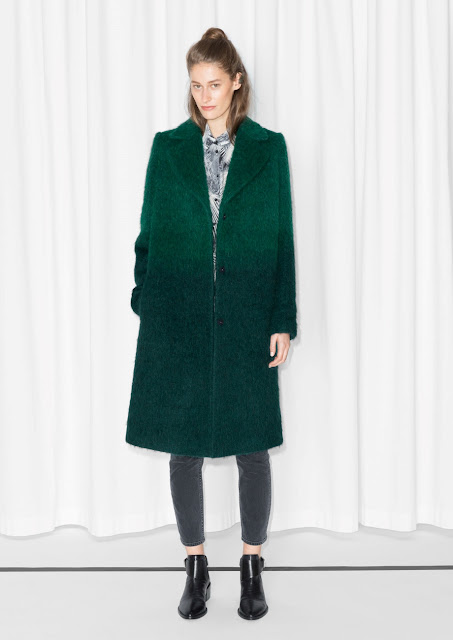 ombre green coat,