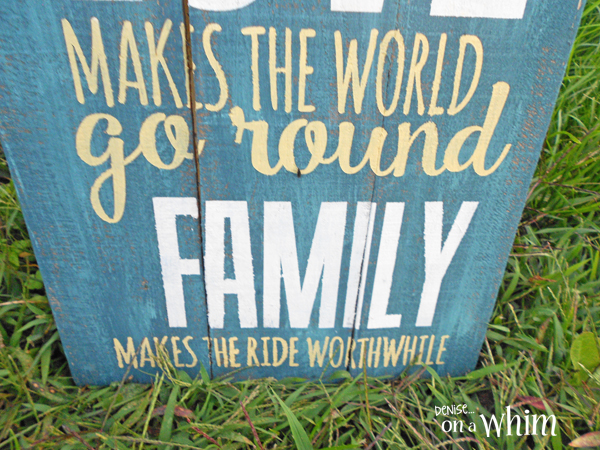 Love and Family Pallet Wood Sign with Chalky Style Paint from Denise on a Whim