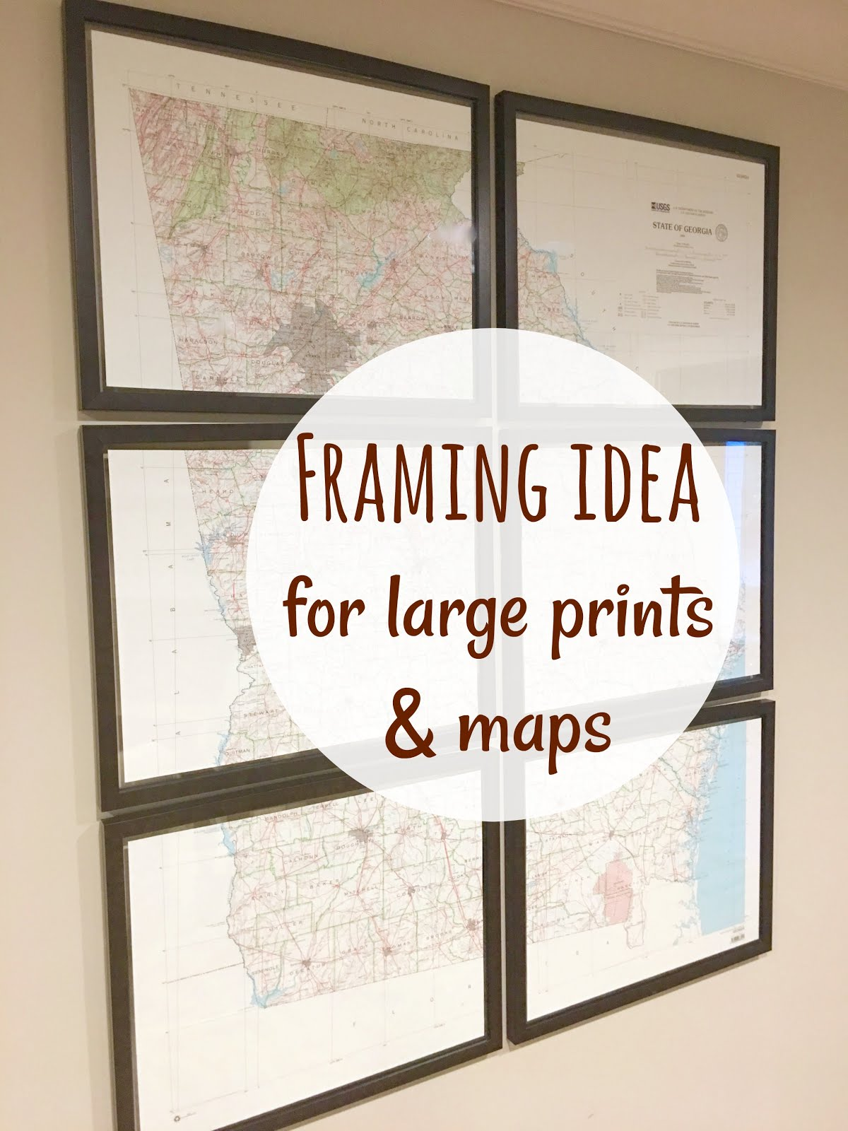Magnolia Mamas Framing Large Maps - Large framed us map