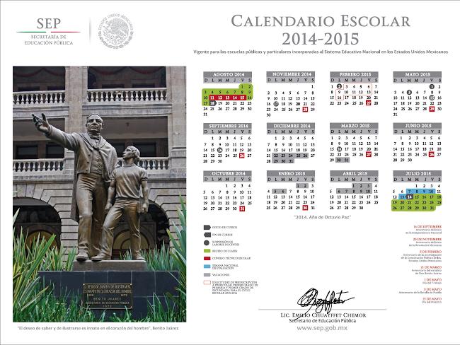 ... : Publica SEP calendario escolar 2014-2015 (Descarga el Calendario