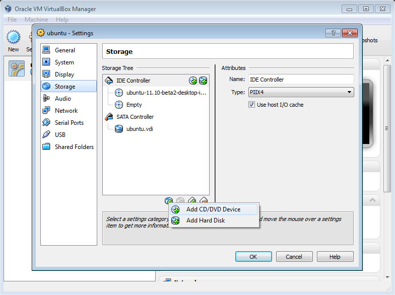 Oracle VM VirtualBox Manager Ubuntu Settings