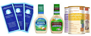 Free Formula, Trilipiderm, Hidden Valley Dressing and More