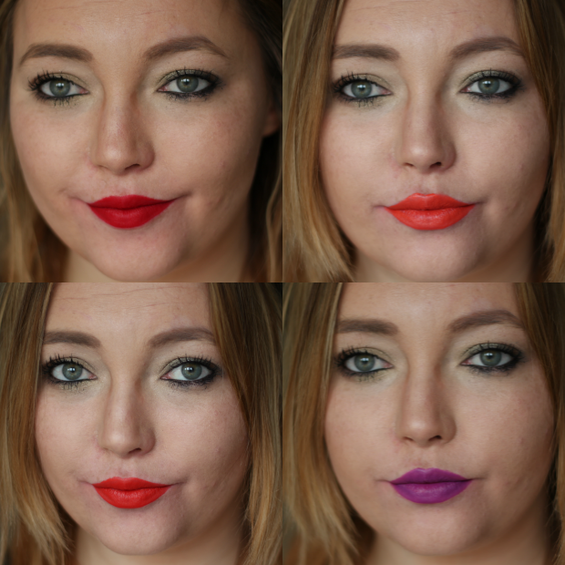 mac, lipstick, collection, beauty, makeup, red, purple, ruby woo, lady danger, morange, heroine, so chaud, swatches, swatch