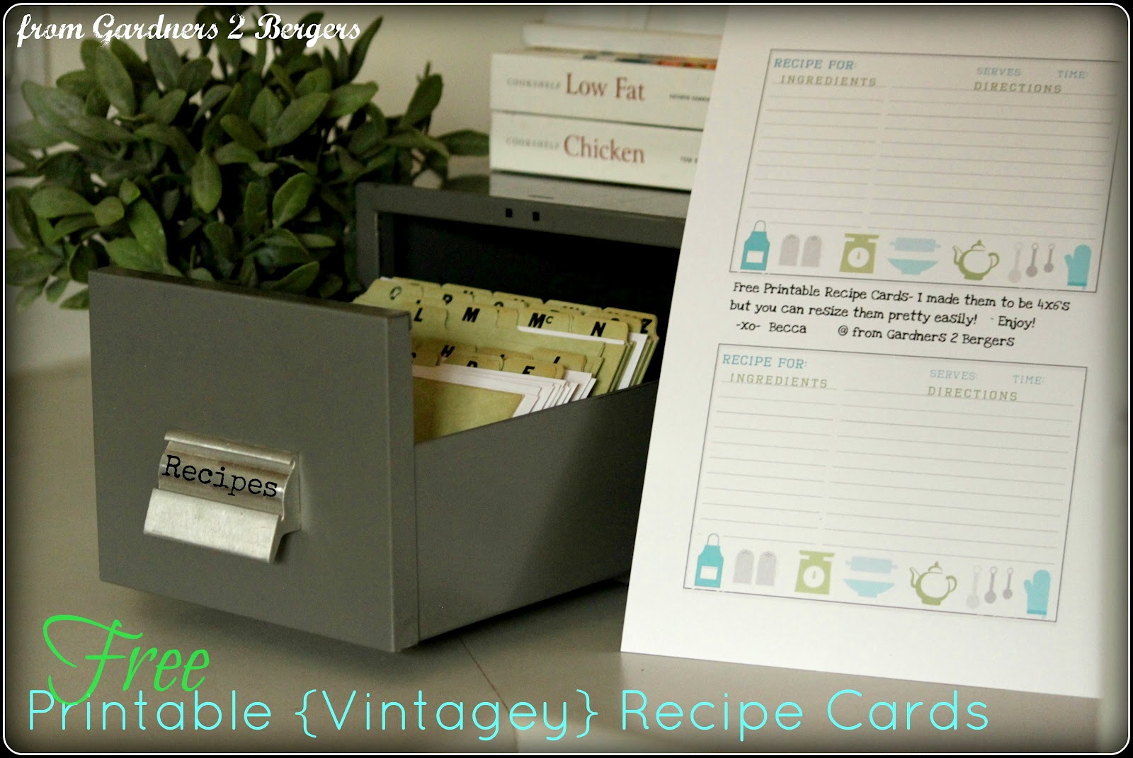 from gardners 2 bergers  vintage index card recipe box w