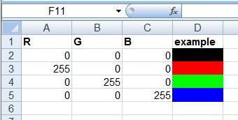 RGB Excel