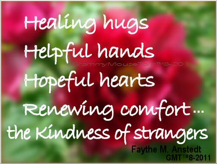 inspirational poem - healing hugs - Faythe M. Anstedt image quote