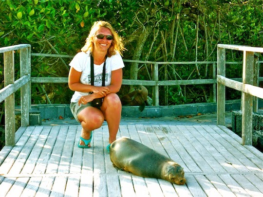 Holiday Nomad with a Sea Lion on the dock of Isabela Island