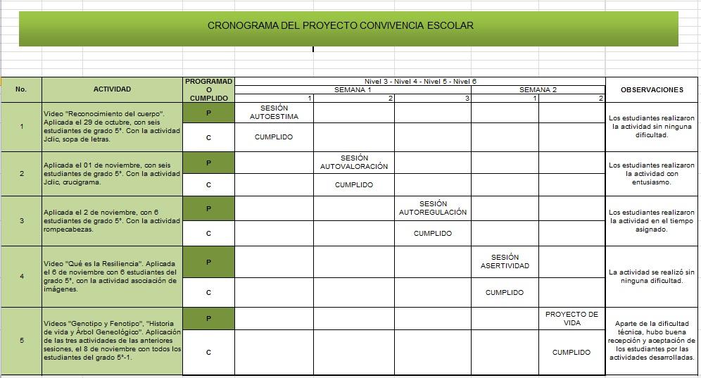 Convivencia escolar diamantina cronograma proyecto de for Proyecto de restaurante escolar