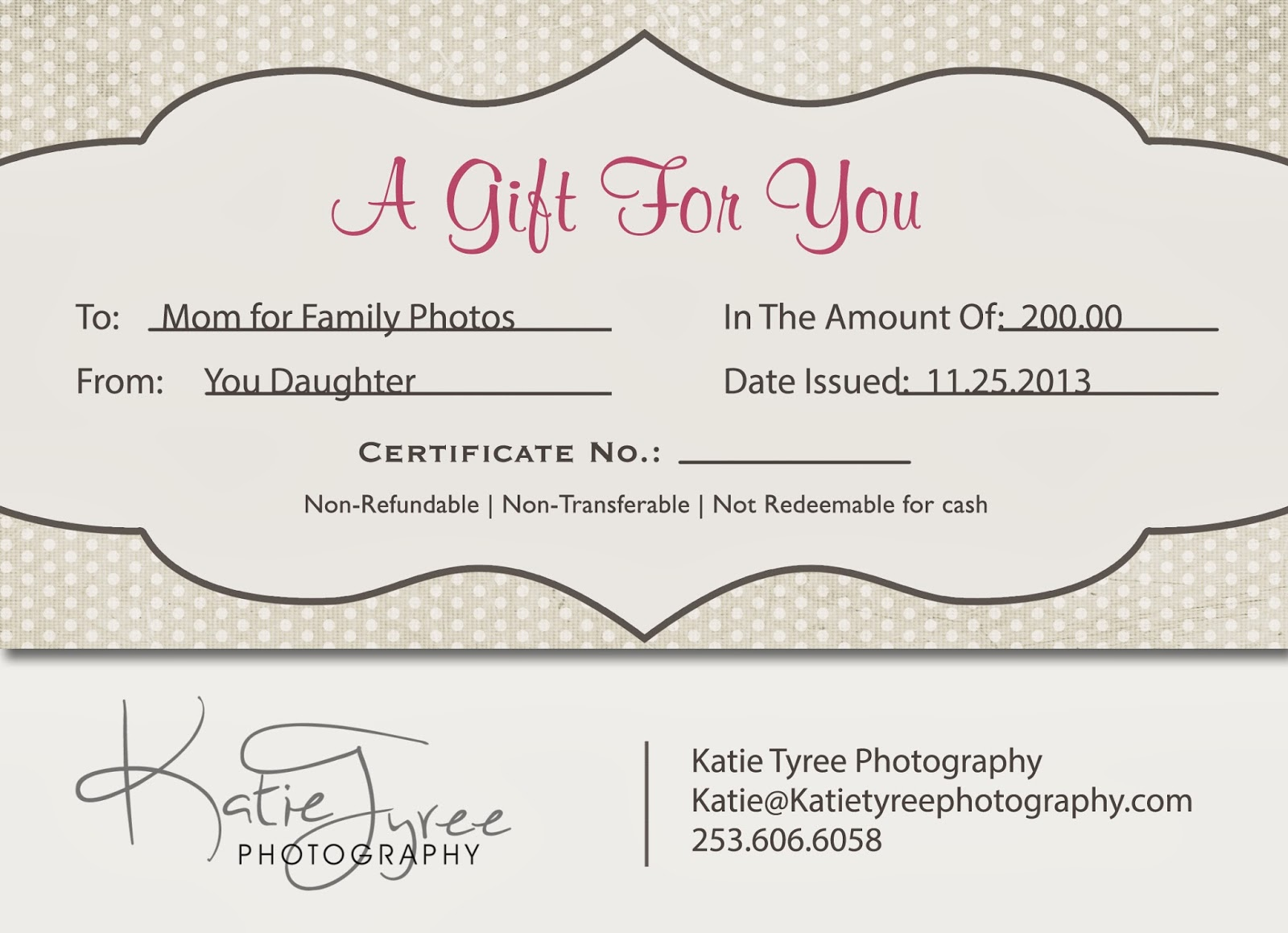 Photography gift certificates madohkotupakka photography gift certificates 1betcityfo Gallery