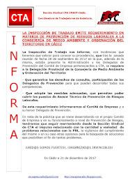 LA INSPECCIÓN DE TRABAJO EMITE REQUERIMIENTO EN MATERIA DE PREVENCIÓN DE RIESGOS LABORALES A LA CON