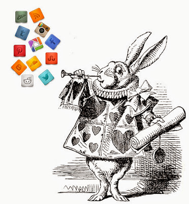 illustration from Alice in Wonderland of the white rabbit blowing a trumpet.  A stream of social media icons are coming out of the trumpet.