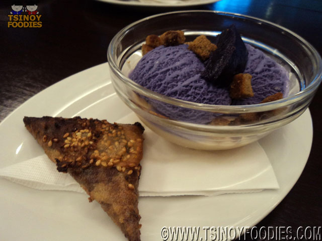 jackfruit panna cotta toasted coffee crouton and ube ice cream  and banana chocolate samosa