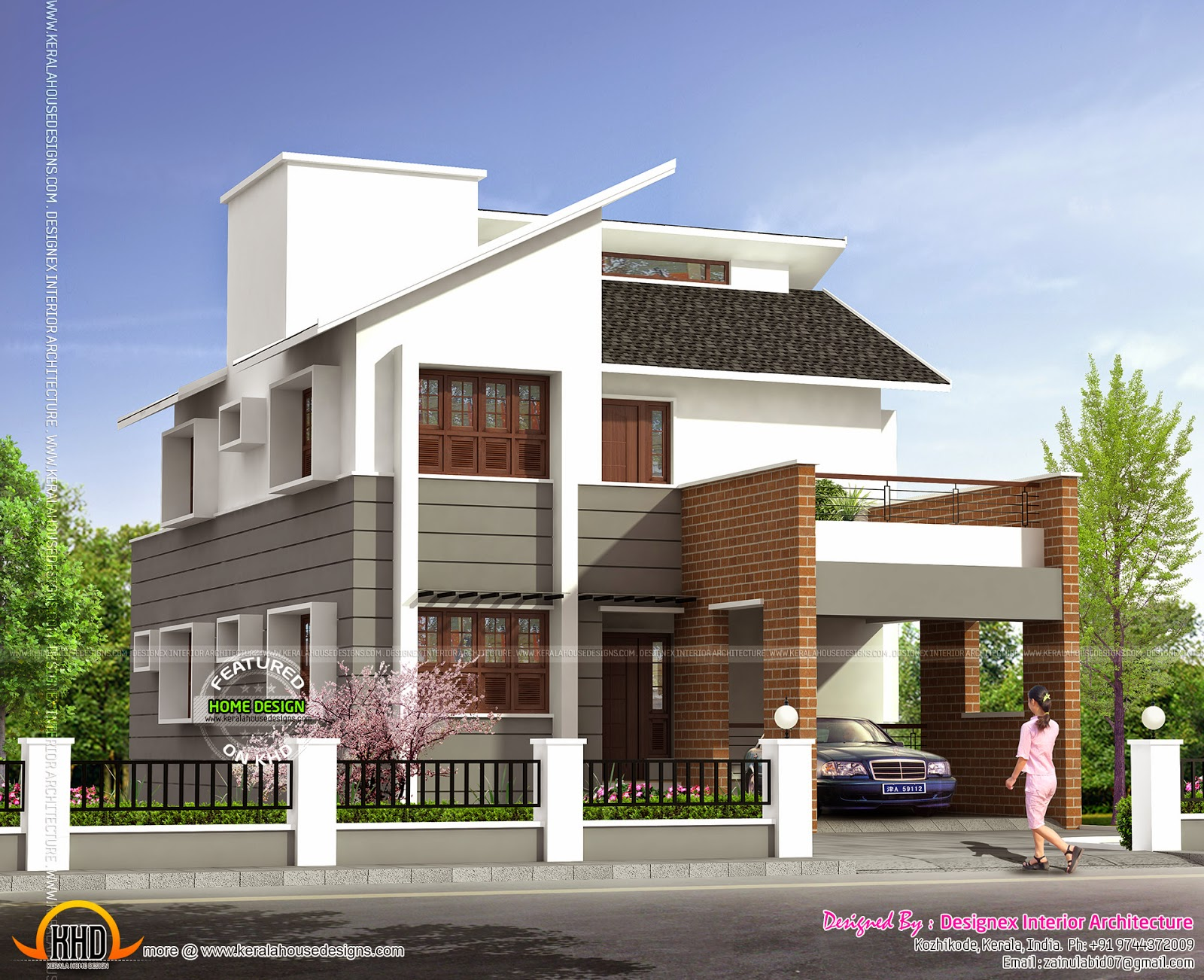 1995 Square Feet Modern House Exterior Kerala Home: design the outside of your house online