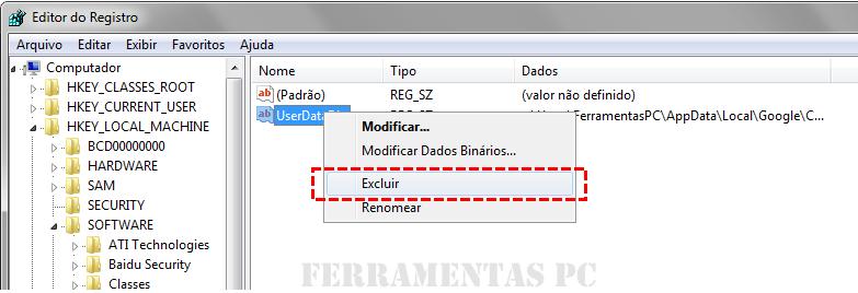 Google Chrome - Excluir UserDataDir