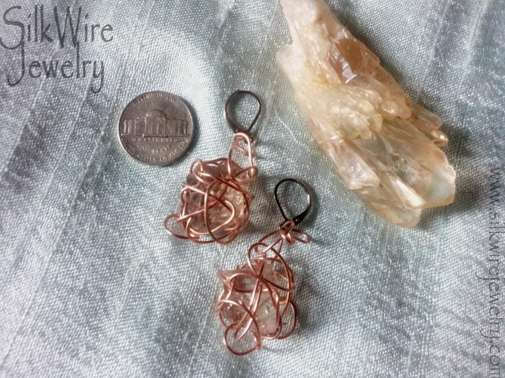 quartz earrings handmade copper wire wrapped
