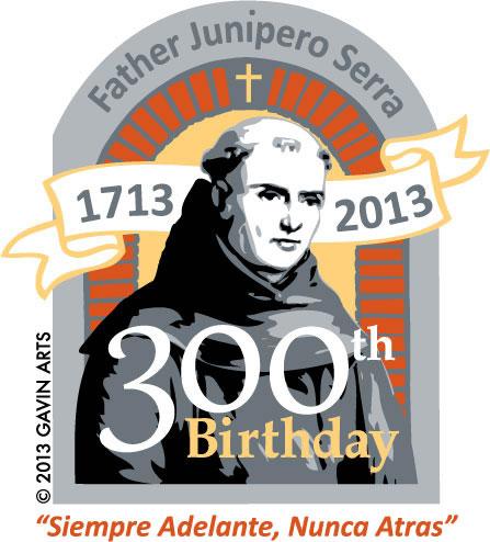 Kimberleigh Gavin's Father Serra 300th Birthday Pin, Charm and shirt logo.