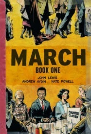 Cover of March, Book One, featuring two black me, one black woman, and one white man seated at a counter. Above them appear a number of marching legs encased in suit pants or 1960s skirts.