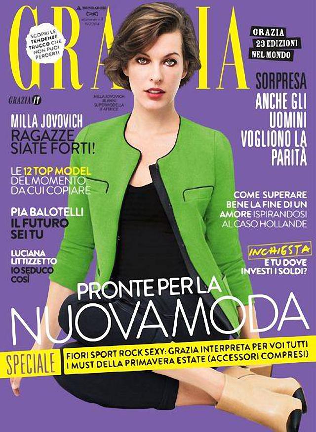 Milla Jovovich en portada de Grazia Magazine Italia febrero 2014