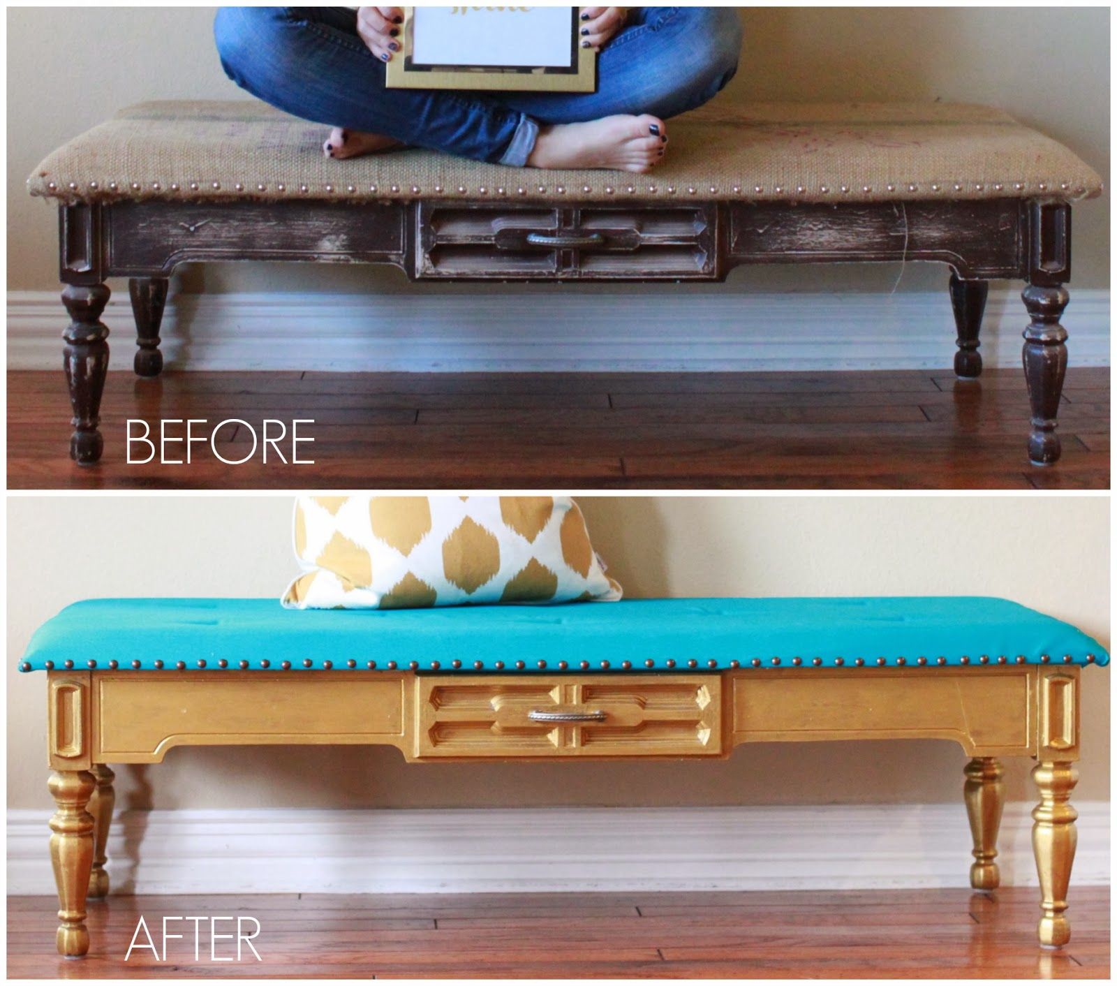 Crafty Texas Girls Turquoise & Gold Tufted Bench