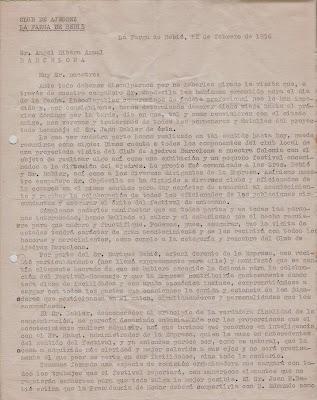 Carta de Sebastián Sanz Perelló a Ángel Ribera, 1956 (1)