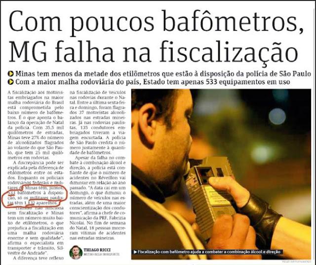 falta de bafometro em Minas gerais de anastasia e aecio neves