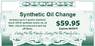 Synthetic Oil Change Coupons – Enhancing Engine Life and Easy to Pocket!!! 3