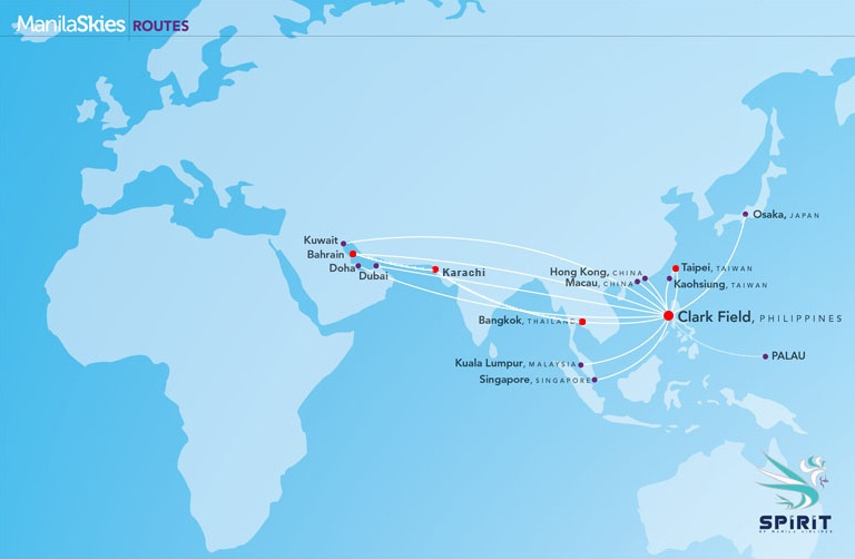 international flights: Spirit of Manila Airlines route map