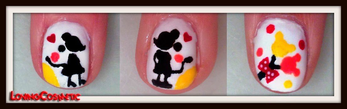 Mickey y Minnie Mouse in love enamorados love nail art valentines day san valentin uñas diseño uñas