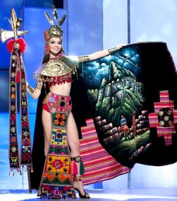Natalie Vértiz con traje de Princesa Incaen concurso de belleza