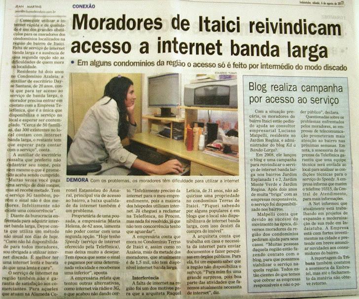 Reportagem Jornal Tribuna de Indaiá - Banda-larga