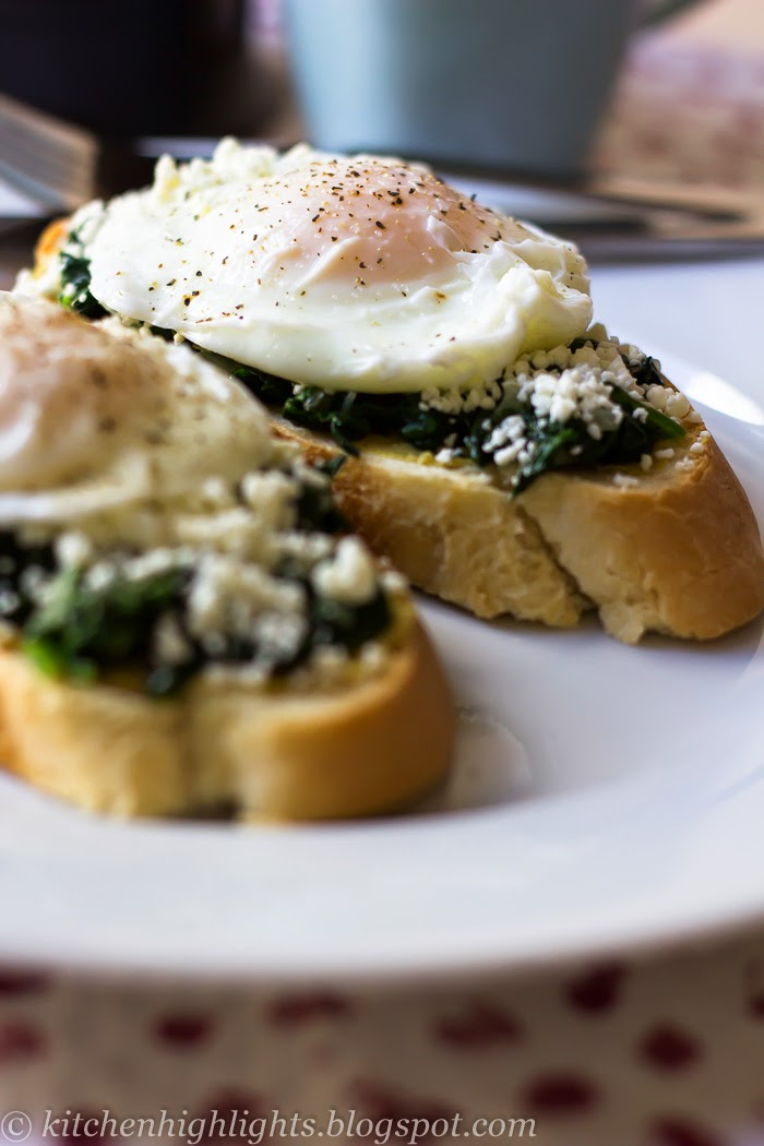 The poached egg toast with spinach and feta recipe has all the ...