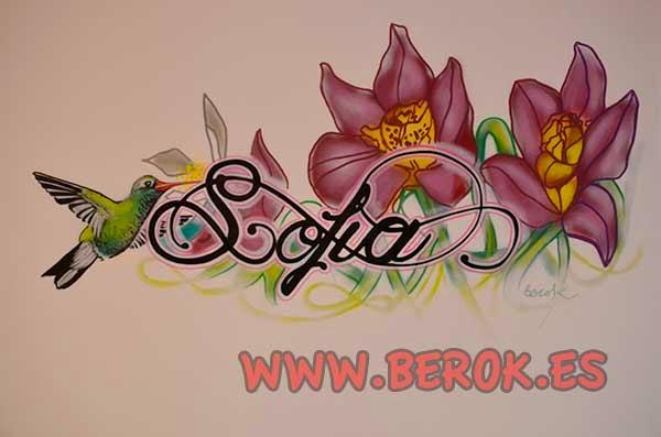 Graffiti con el nombre de Sofía