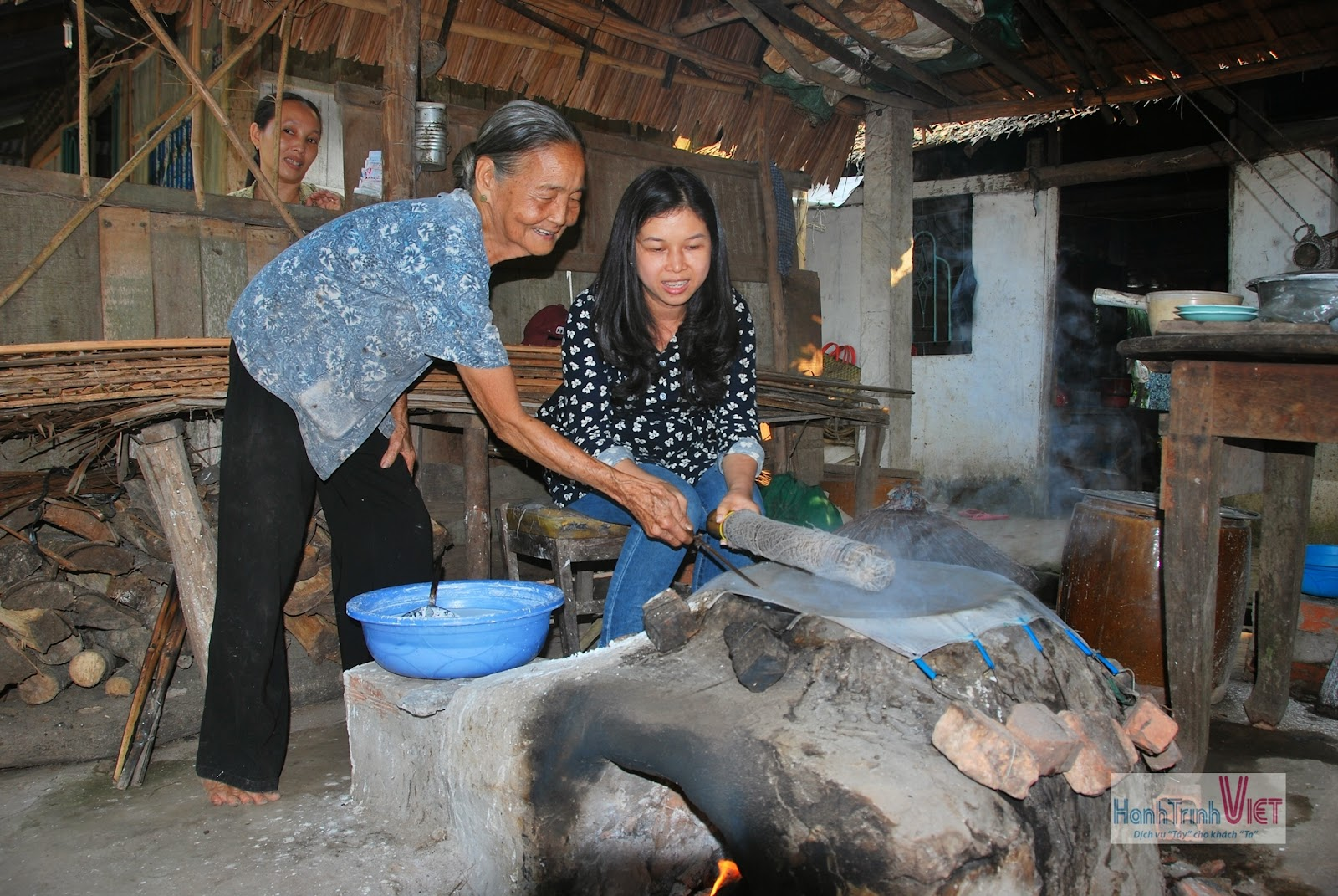 Visiting traditional producer of rice paper wrappers (bánh Tráng)