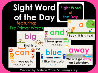 Pre-Primer Sight word of the day set